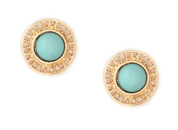 mint button earrings