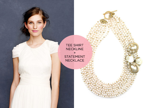 statement necklace and t shirt neckline