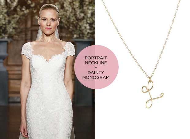 portrait neckline and monogram necklace