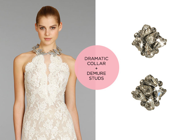 dramatic collar and cluster stud earrings