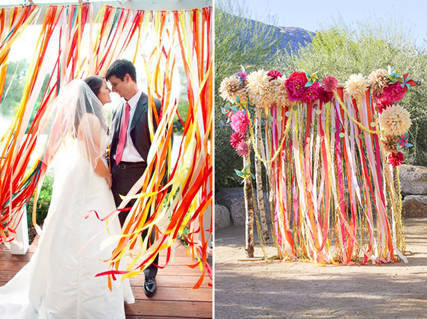DIY wedding decorations, ribbon, streamers photo background
