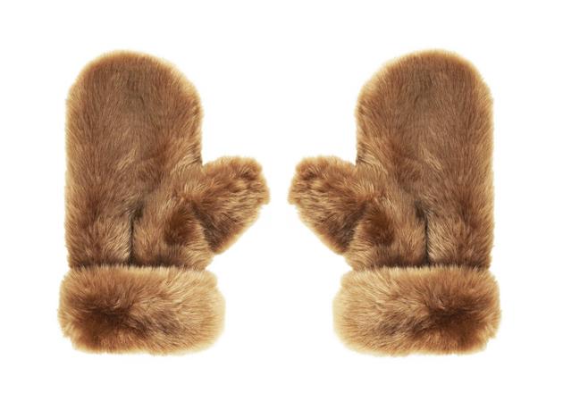 topshop fur mittens