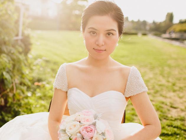 wedding dress with beaded sleeves