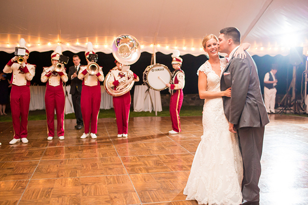 marching band at wedding reception