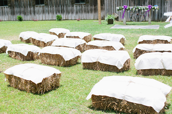 hay bale wedding ceremony seating