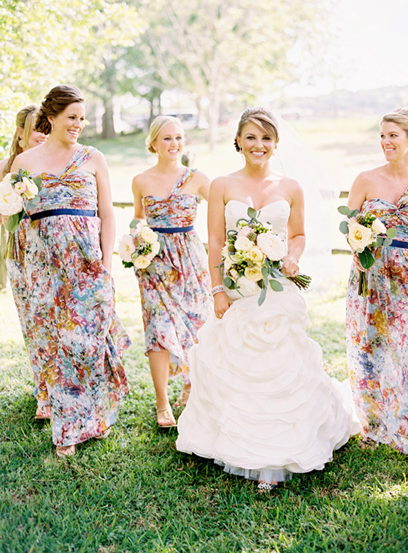 floral maxi bridesmaids dresses