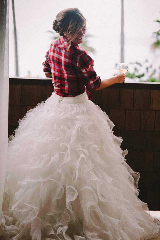 bride wearing a flannel shirt