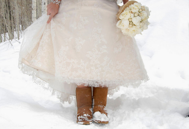 bride wearing uggs
