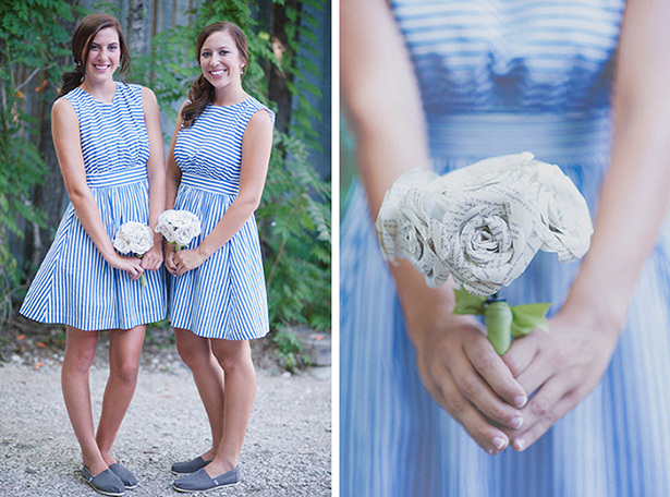 nautical striped bridesmaid dresses blue