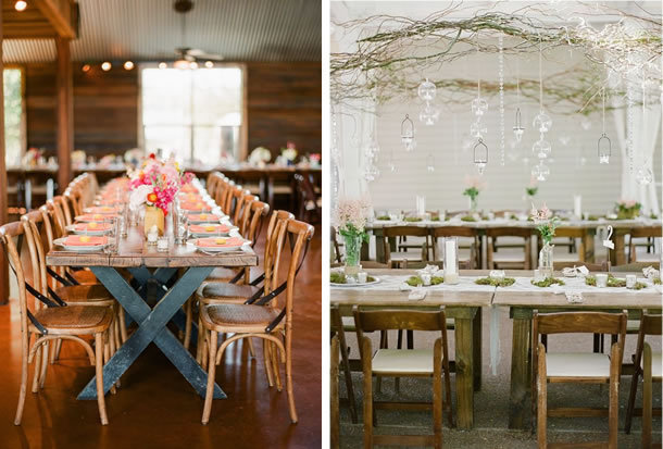 wooden farm tables